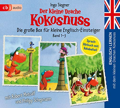Englisch lernen mit dem kleinen Drachen Kokosnuss - Die große Box für kleine Englisch-Einsteiger (Band 1-3): Der kleine Drache Kokosnuss kommt in die ... Drache Kokosnuss – Schulausflug ins Abenteuer