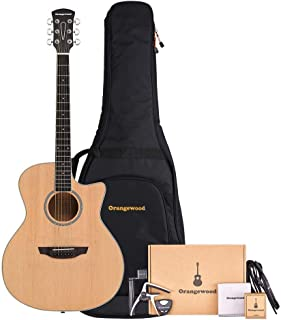 Orangewood 6 String Acoustic Guitar Pack, Right, Spruce, Cutaway (OW-REY-S-AK)