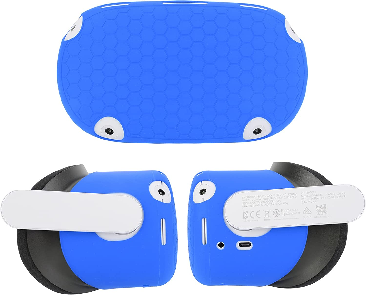 Protective Shell Cover for Quest 2 Oculus Accessories VR Silicone Skin Front Face Protector Hood Kit Anti Dust Anti Scratch Preventing Collisions (Blue)