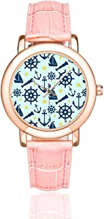 InterestPrint Women's Rose Gold-Plated Pink Leather Strap Watch Pink Grey Floral Flowers