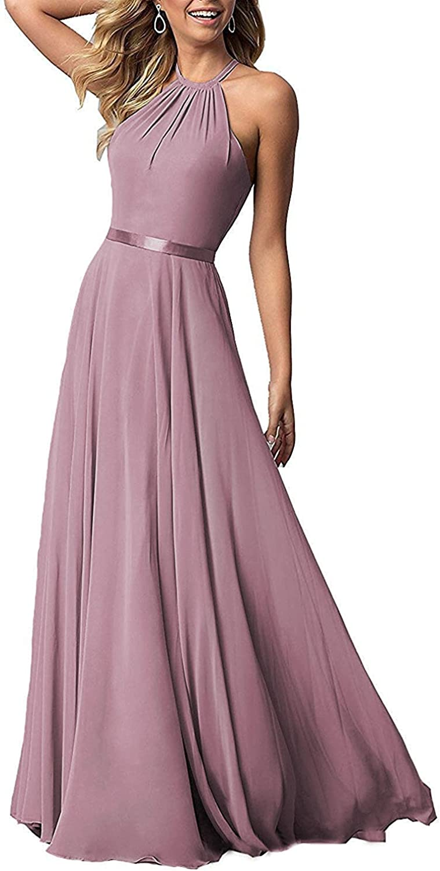 Mismatched Long Mauve Pink Wedding Bridesmaid Dresses Chiffon Formal Party Dress for Women B017