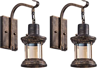 Rustic Light Fixtures, Oil Rubbed Bronze Finish Indoor Vintage Wall Light Wall Sconce Industrial Lamp Fixture Glass Shade Farmhouse Metal Sconces Wall Lights for Bedroom Living Room Cafe(2 Pack)