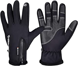 AUSHEN Cycling Gloves Full Finger Touch Screen Waterproof Windproof Gloves Winter Warm Snow Gloves Outdoor Sport Gloves Thermal Gloves Winter Gloves for Men Women Adult