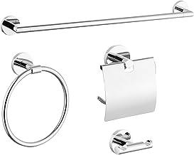 Gricol 4 Stuk Badkamer Accessoires Set RVS Muur Mounted, Handdoek Bar, Toiletpapier Houder, Gewaad Haken, Handdoek Ring