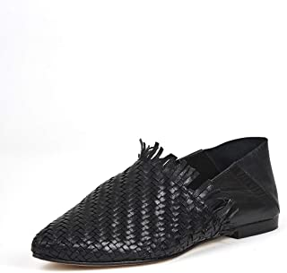 Saint G Womens Black Leather Woven Ballerinas