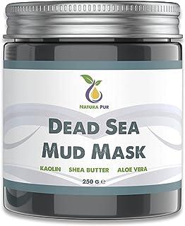 Gezichtsmasker met modder uit de Dode Zee 250g, biologisch en veganistisch - Werkt tegen puistjes, mee-eters en acne - ant...