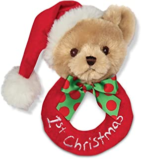 Bearington Baby's 1st Christmas Plush Soft Ring Rattle, 5.5 inches