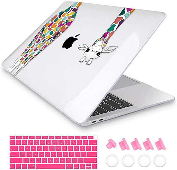 Mektron Case Only Compatible With Older Version MacBook Pro Retina 13 Inch Models A1502 A1425 Release 2015 End 2012 Colorful Giraffe Soft Touch Laptop Cover Keyboard Skin Dust Plug
