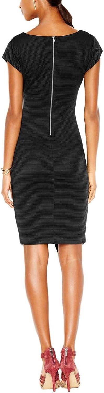 Bar III Womens Ribbed Envelope Wear to Work Dress Black XS