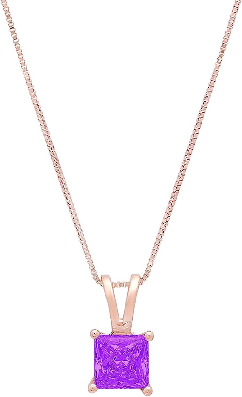 0.50 ct Brilliant Princess Cut Fine Pendant Natural Amethyst Gem Ideal VVS1 Solitaire Pendant Necklace With 18