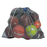 "Mesh Equipment Bag, Grey - 24"" x 36"" - Adjustable, sliding drawstring cord closure. Perfect mesh bag for parent or coach, making it easy to transport and keeping your sporting gear organized."
