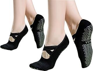 FEOYA, Calcetines de Yoga 2 Pares Algodón Invisibles para Mujer Calcetines Transpirables Calcetines Antideslizantes para Yoga Pilates Fitness