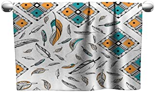 Mannwarehouse Feather House Decor Beach Towel Tribal Bohemian Feather Patterns with Geometric Square Vintage Motifs W14 x L14 Teal Orange