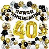 MMTX 40 Geburtstag Deko Schwarz Gold, Geburtstag Party Dekoration mit Große 40 Luftballons Happy Birthday Banner, Papier Pom Poms für Männer und Frauen Erwachsene Party Decor