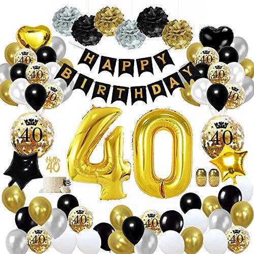 MMTX 40 Globos Cumpleaños Decoracione Oro Negro, Happy Birthday cumpleaños, Pompones de Papel, Globos de Papel de Oro para Hombres y Mujeres Adultos Decoración de Fiesta