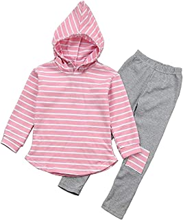 Toddler Infant Baby Baby Boy Girl Clothes Stripe Long Sleeve Hoodie Tops Sweatsuit Pants Fall Winter Cotton Outfit Set