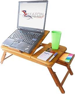 SEAFON Mesa De Bambú Con Ventilador Cooler Para Laptop De