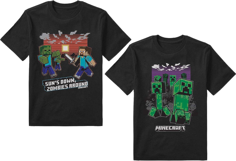 Minecraft Boys 2 Pack T-Shirt set Steve Minecraft Zombie Battle Villain Mobs Monster Group Shot Box Figure