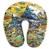 Hdadwy Lesmus African Mountain Abstract Splatter Art Almohada de Cuello de Vuelo de Viaje en Forma de U Almohada de Espuma viscoelástica para el Cuello 11.8 'X3.9' X11.4 '