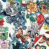 FS117_2, tessuto elasticizzato scuba in neoprene, al metro, avorio con fantasia tatuaggio vintage-retrò, stampa con motivo: teschio, assi, love