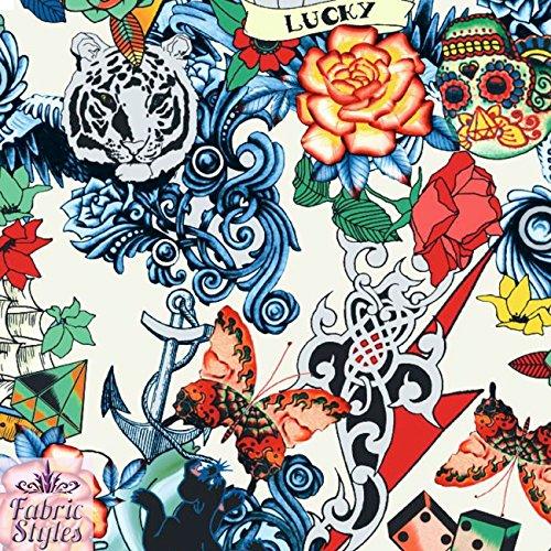 FS117_2 Scuba-Jersey-Stoff, Muster: vintage, retro, Tattoo-Stil, Elfenbein, Totenkopf, Karten, Herz, Druck auf dehnbarem Scuba-Jersey-Stoff – Neopren (Meterware)