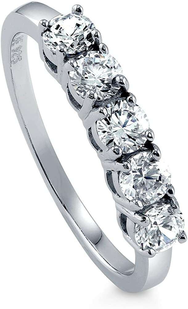 BERRICLE Rhodium cheap Plated Sterling Silver CZ Cubic Zirconia Round High order