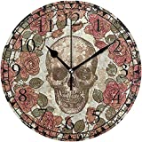 sam-shop Calavera Rosa números arábigos Reloj de Pared Decorativo