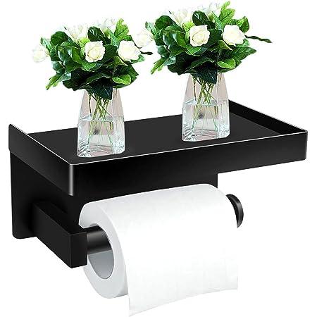 Ausbond Porte Papier Toilette, Support Porte Rouleau Papier Toilette Mural sans Perçage, Derouleur Papier Toilette WC avec Etagère, en Acier Inoxydable SUS304, pour Cuisine et Salle de Bain, Noir