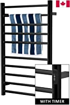 Towel Warmer | Built-in Timer with Led Indicators | 3 Timer Modes: ON/Off, 2 H, 4 H | Wall Mounted | 10 Bars | Power Coated (Carbon Steel)