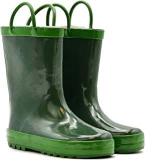 Children's Rubber Rain Boots with Easy-On Handles Available in Different Colorful Designs