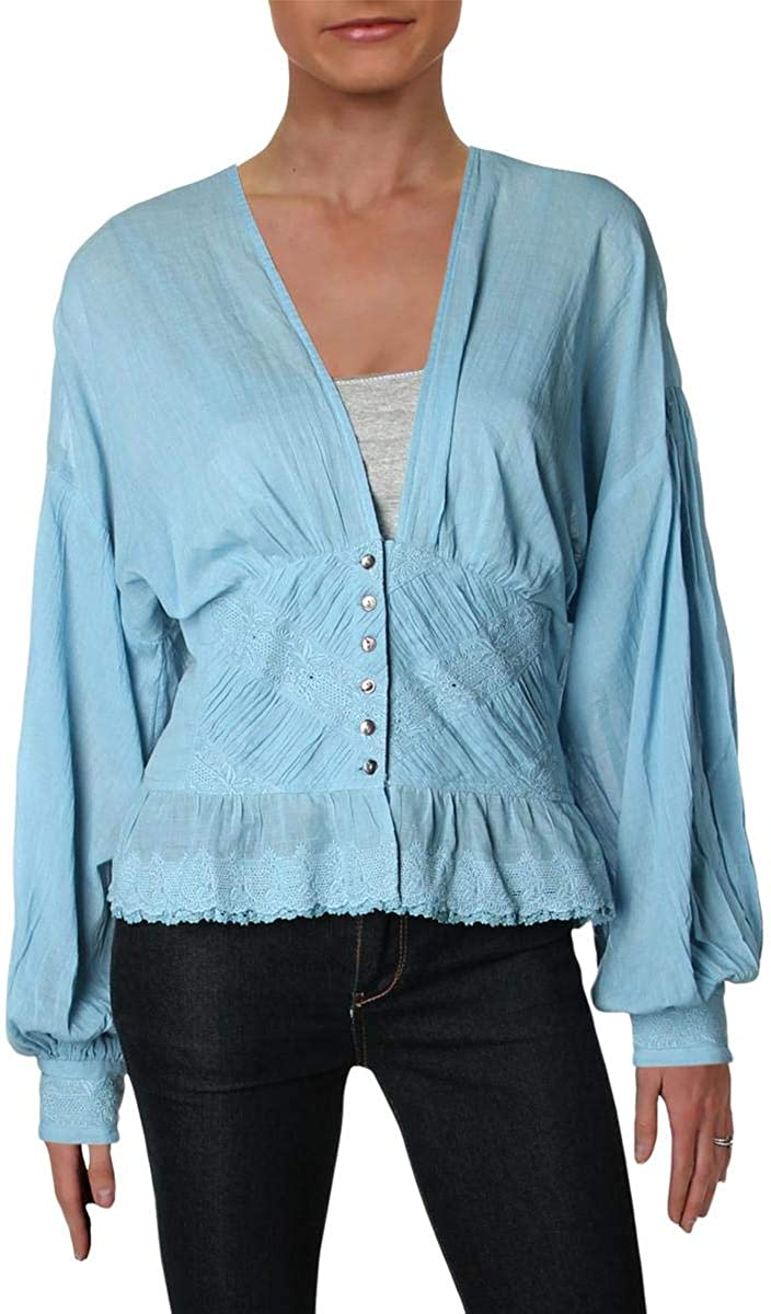 Free People Womens True Embroidered Button Down Blouse