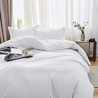 SORMAG Bedding Duvet Cover King Size 3 Piece, Ultra Soft Double Brushed Microfiber Hotel Collection, Duvet Cover with Zipper Closure, White