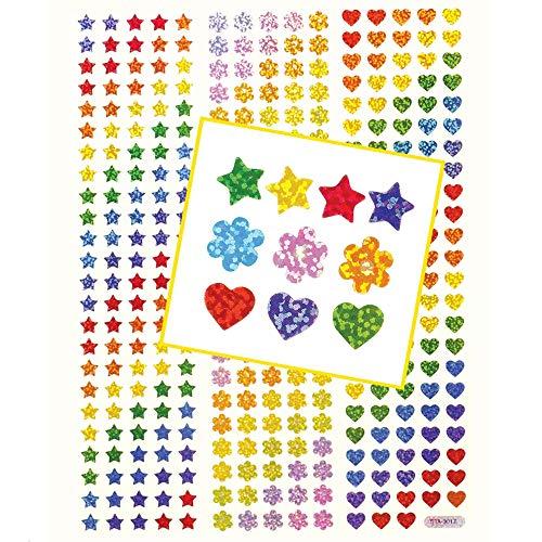 Baker Ross Kleine holografische Aufkleber (348 Stück) Leuchtende und wunderschöne holografische Aufkleber in Stern-, Herz- und Blumenform