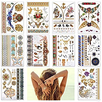 Lady Up 10 Large Sheet +75 Designs Metallic Temporary Tattoos for Women- Jewellery Temporary Tattoo & Indian Body Art Henna Gold Silver  color gold