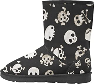Artsadd Fashion Women's Shoes Retro Colorful Skull High Top Womens Snow Boots