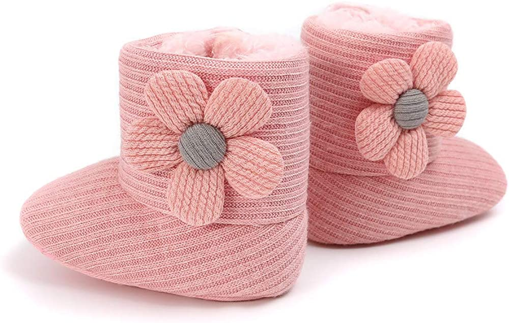 Isbasic Infant Baby Premium Buttons Snow Boots Anti-Skid Rubber Sole for Toddler Boys Girls Winter Warm Crib Shoes