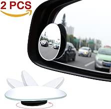 Amfor Blind Spot Mirror, Oval HD Glass Convex Lens Frameless Adjustable Blind Spot Mirror for All Universal Vehicles Car Stick-on Design (2 PCS)