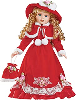 Collections Etc Winter Grace Holiday Porcelain Doll