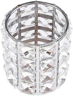 Blesiya Crystal Makeup Brush Holder Bling Bling Comb Cosmetic Display Organizer Jar Round, 3.35x4.21inch, Dressing Table A...