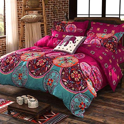 Parure de Lit 2 personnes 3 pièces Housse de couette 228 x 230 + 2 Taies  D\'oreillers 75 x 50 Rouge Floral Vintage Orientale pour Chambre Enfants ...