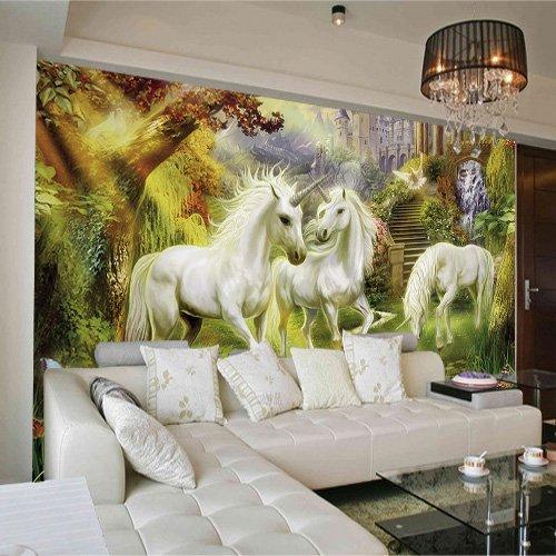 Yonthy 3D Tapete Wohnzimmer Schlafzimmer Einhorn-Traumschloss Wandbild Hintergrundwand 200Cmx150Cm|78.74(In) X59.05(In)
