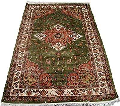 Lovely Olive Green Medallion Rectangle Area Rug Hand Knotted Wool Silk Carpet 6 X 4 Amazon Ca Home Kitchen