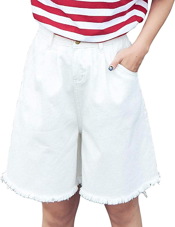 Women's Elastic Waist Wide Leg Raw Hem Loose Bermuda Denim Jean Shorts
