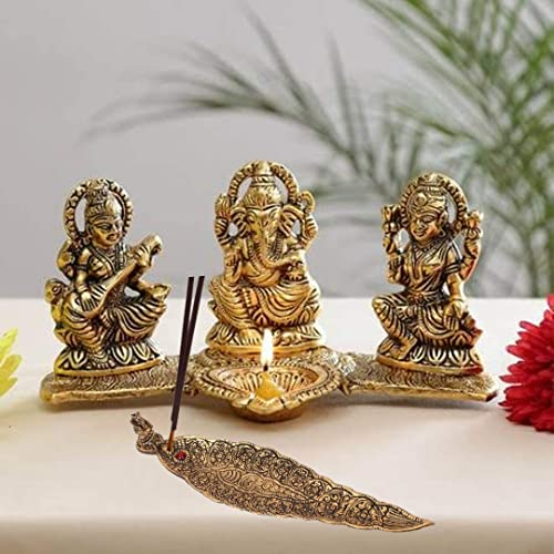 Prince Home Decor & Gifts Laxmi Ganesh Saraswati Idol Decorative Platter with Diya and agarwati Stand Diwali Gift