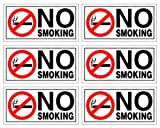 (Set of 6) No Smoking Sticker | 2' x 4' | 4...