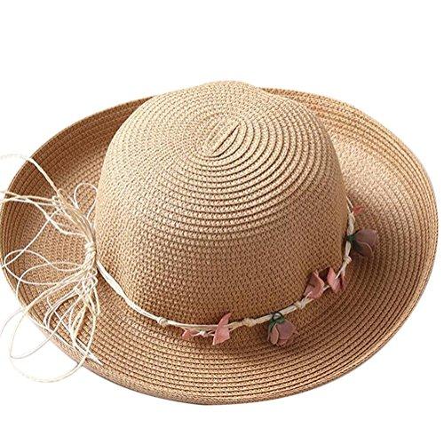 Dosige strandhoed van linnen opvouwbare muts met kleine slinger voor zomer strand dames (Tawny2)