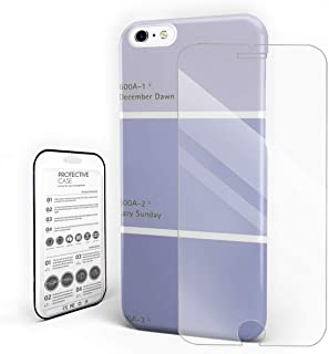 Compatible with iPhone 6 Plus Case and iPhone 6s Plus Case, Hard PC Back Phone Case with Tempered Glass Screen Protector Pantone December Dawn Lazy Sunday Shockproof Protective Cover