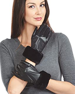 frr Black Sheared Beaver Trim Wool Lined Leather Gloves