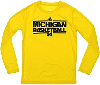 adidas Michigan Wolverines Youth Yellow Basketball L/S Shirt