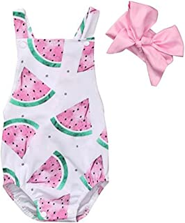 FlyBear Baby Girl One Piece Outfits Newborn Bodysuit Sleeveless Romper Watermelon Print Backless Ruffle Clothes with Headband